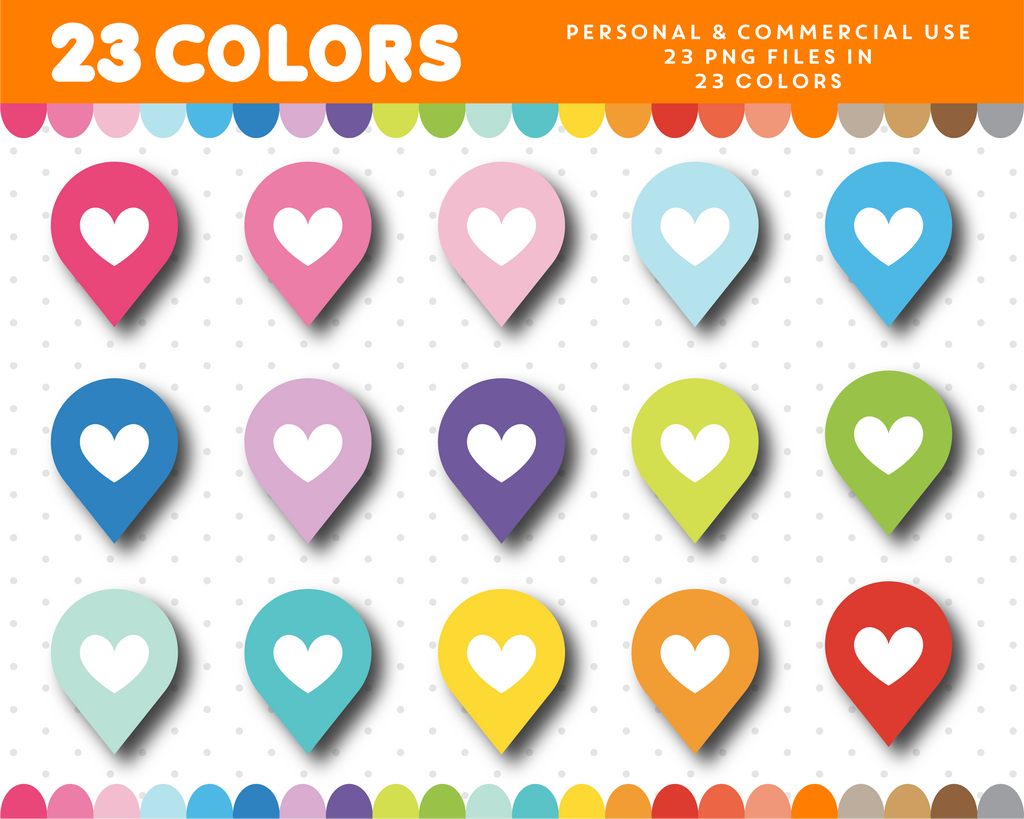 Map marker clipart with a heart, CL-1102
