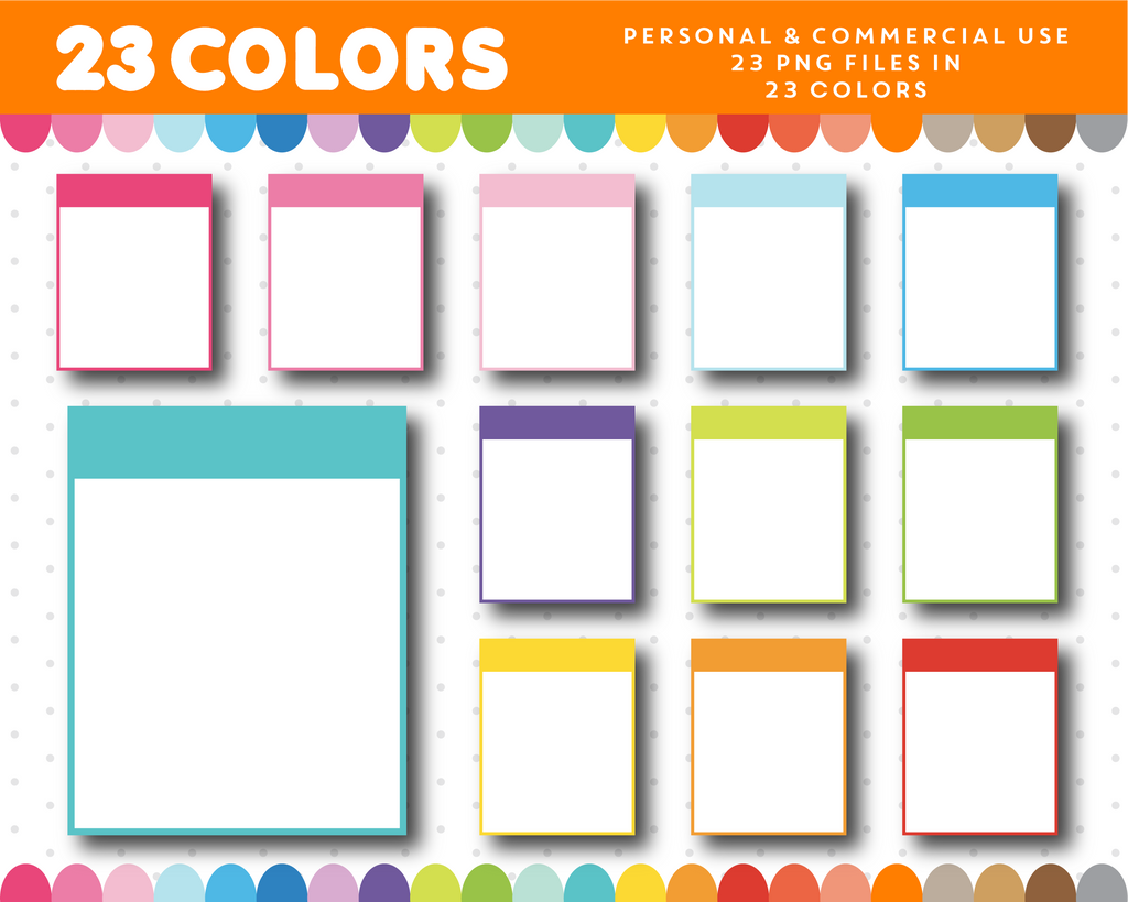 Full box planner clipart in rainbow colors, CL-1104