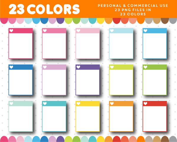 Full box planner clipart in rainbow colors with a heart, CL-1105