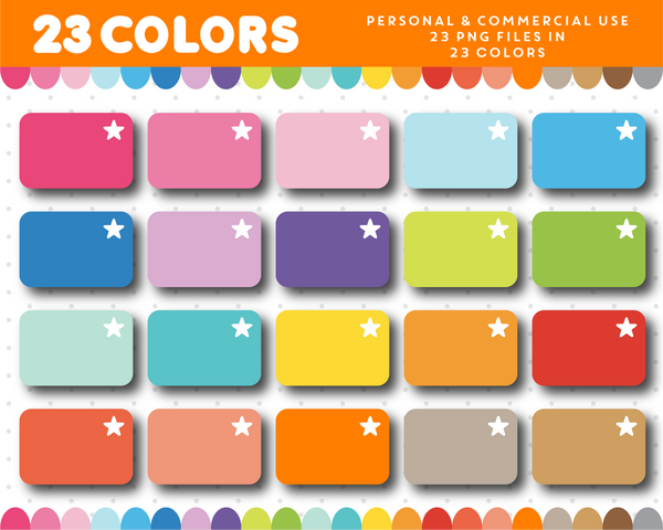 Half box with star planner clipart in rainbow colors, CL-1109