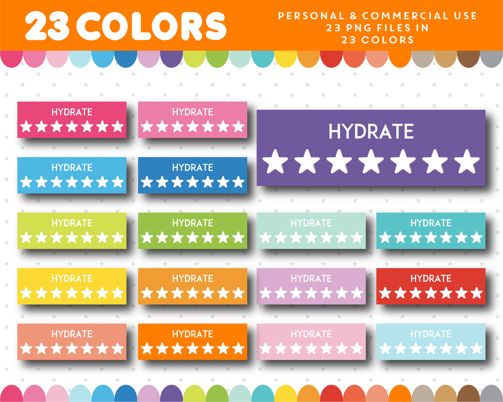 Hydrate clipart, Hydrate planner clipart with stars, CL-1120