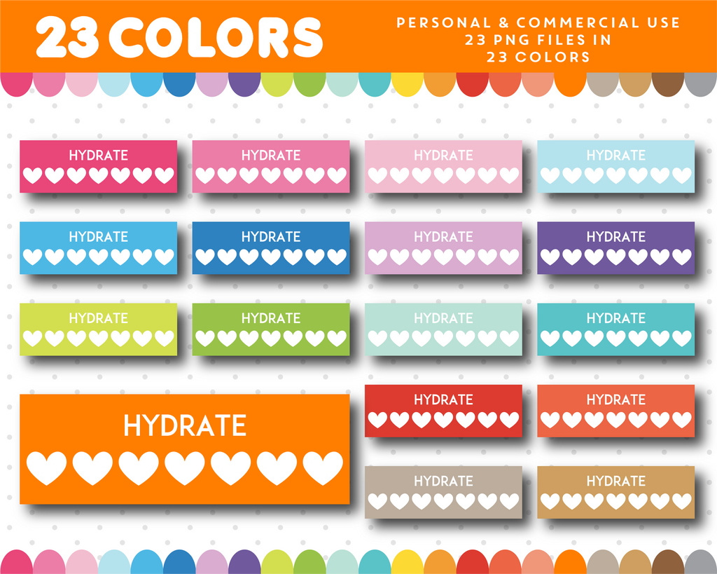Hydrate clipart, Hydrate planner clipart with hearts, CL-1121
