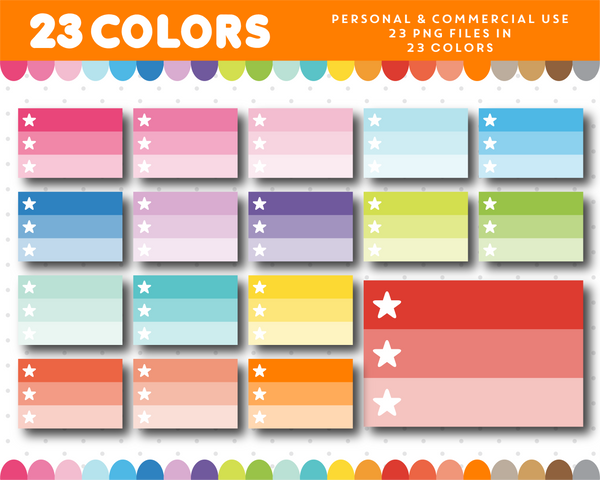 Ombre checkbox with stars, Ombre planner clipart, CL-1130