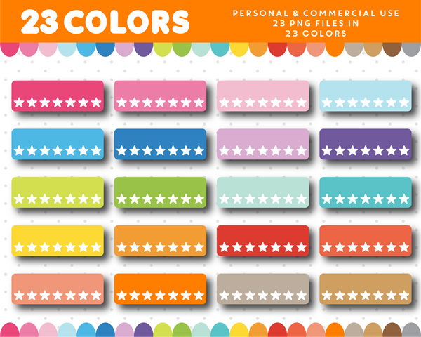 Planner header with stars, Header planner clipart, CL-1132