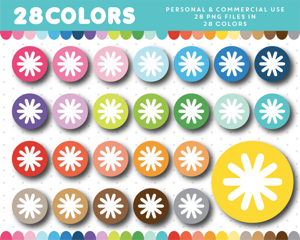 Asterisk clipart in 28 rainbow colors, CL-1136 JS Digital Paper
