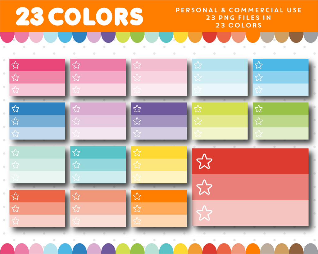 Ombre half box planner clipart with star checkboxes, CL-1141