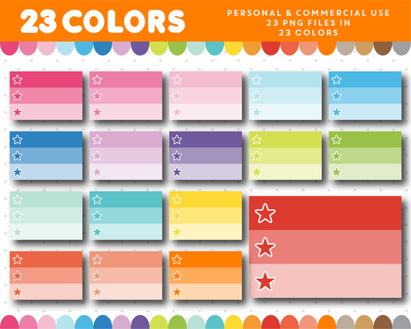 Ombre half box planner clipart with star checkboxes, CL-1142