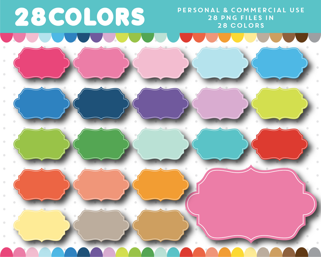Clipart frame in 28 rainbow colors, CL-1154