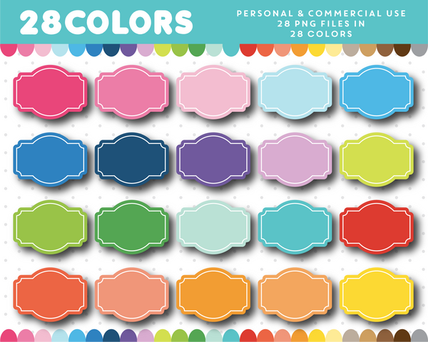 Digital label clipart in rainbow colors, CL-1160