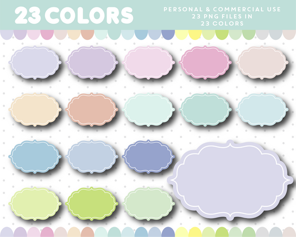 Label clipart frame in pastel colors, CL-1165