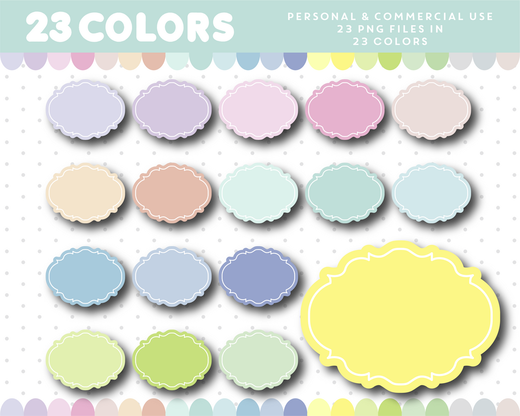 Label clipart frames in 23 pastel colors, CL-1166