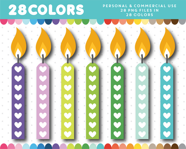 Candle cliparts with hearts in 28 rainbow colors, CL-1173