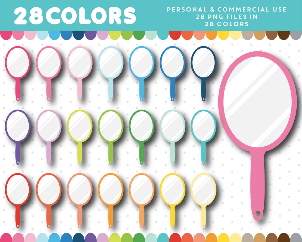 Mirror clipart in 28 rainbow colors, CL-1175