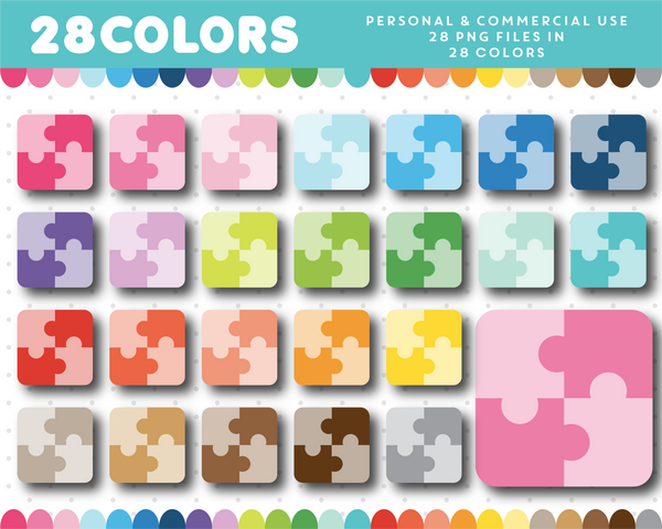 Kids puzzle clipart in 28 colors, CL-1225