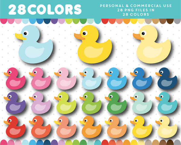 Rubber duck clipart in 28 colors, CL-1233
