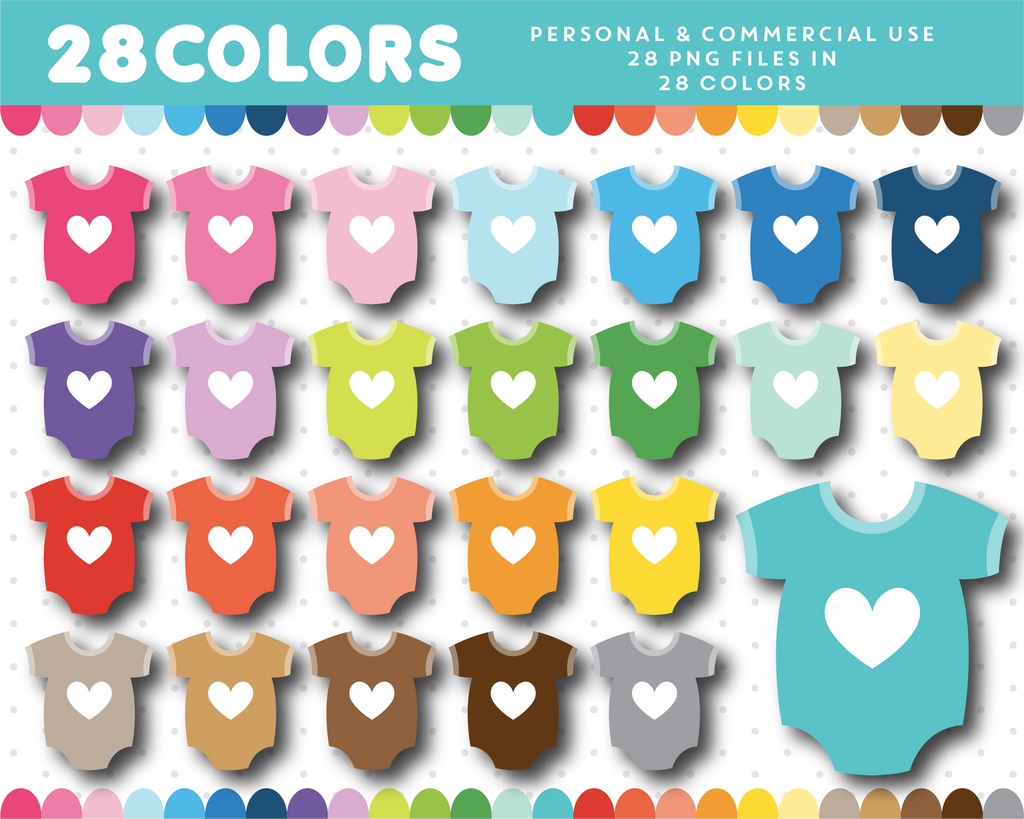 Newborn one pice with heart clipart in 28 colors, CL-1236
