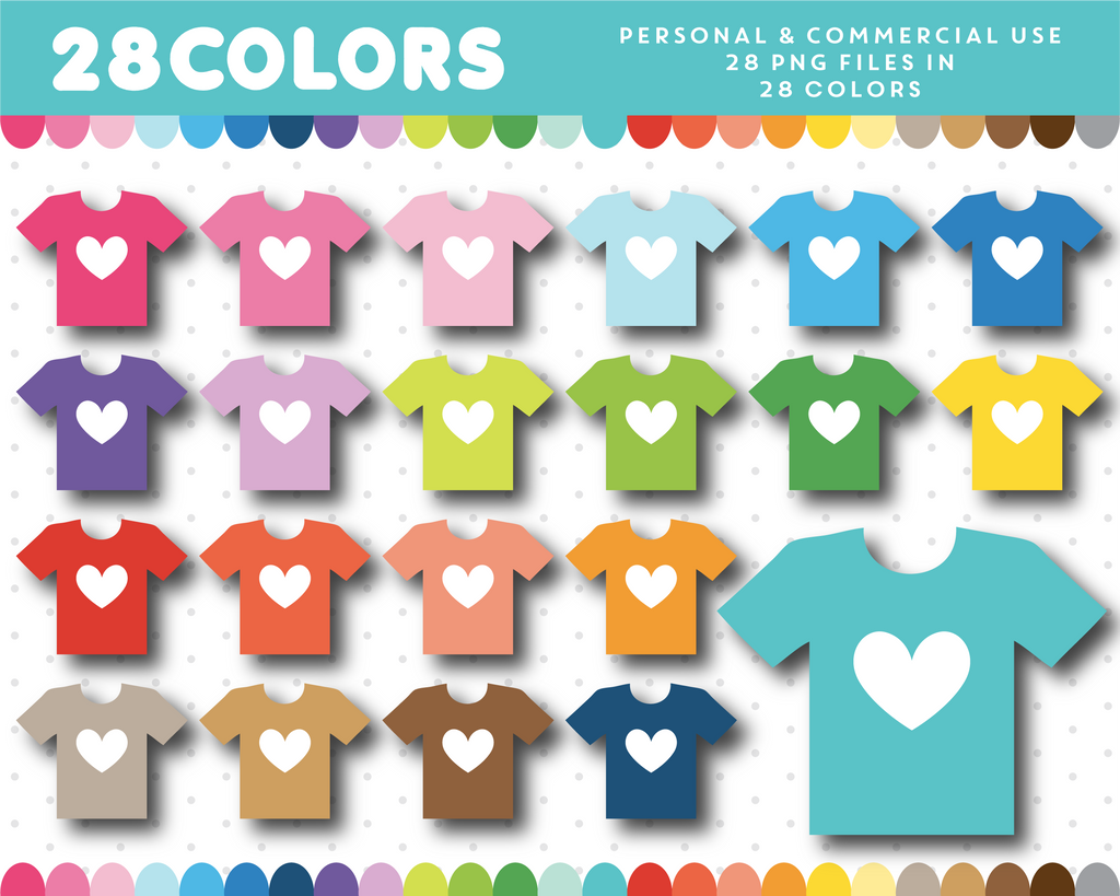 T-shirt with heart clipart in 28 colors, CL-1238