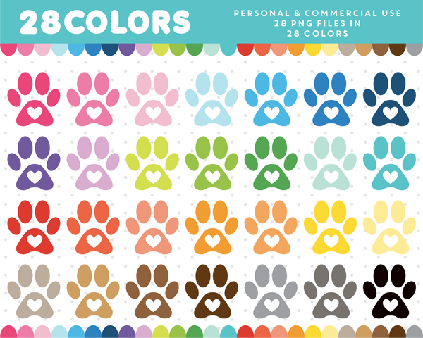 Doggie paw clipart in 28 colors, CL-1242