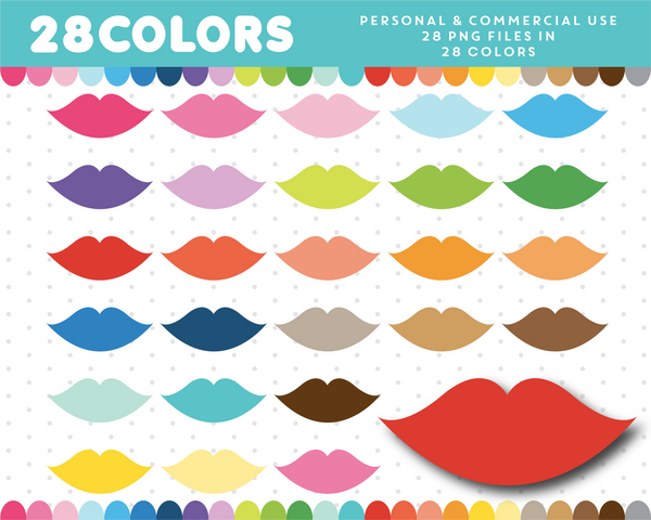 Lips clipart in 28 rainbow colors, CL-1248