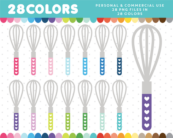 Baking supplies clipart in 28 colors, CL-1254