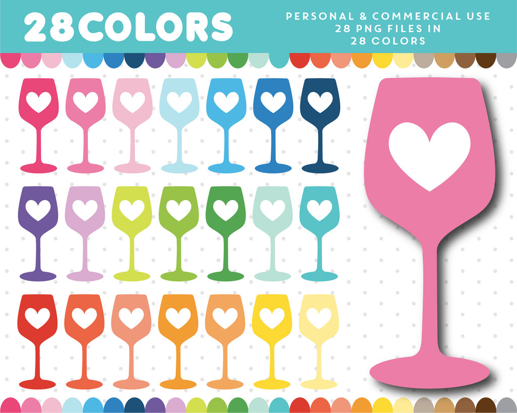 Wine glass with heart clipart in 28 colors, CL-1256
