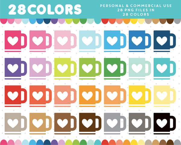Cup with heart clipart in 28 colors, CL-1259