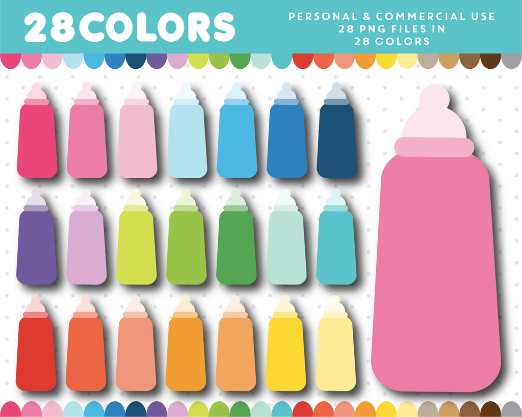 Newborn baby bottle clipart in 28 colors, CL-1262