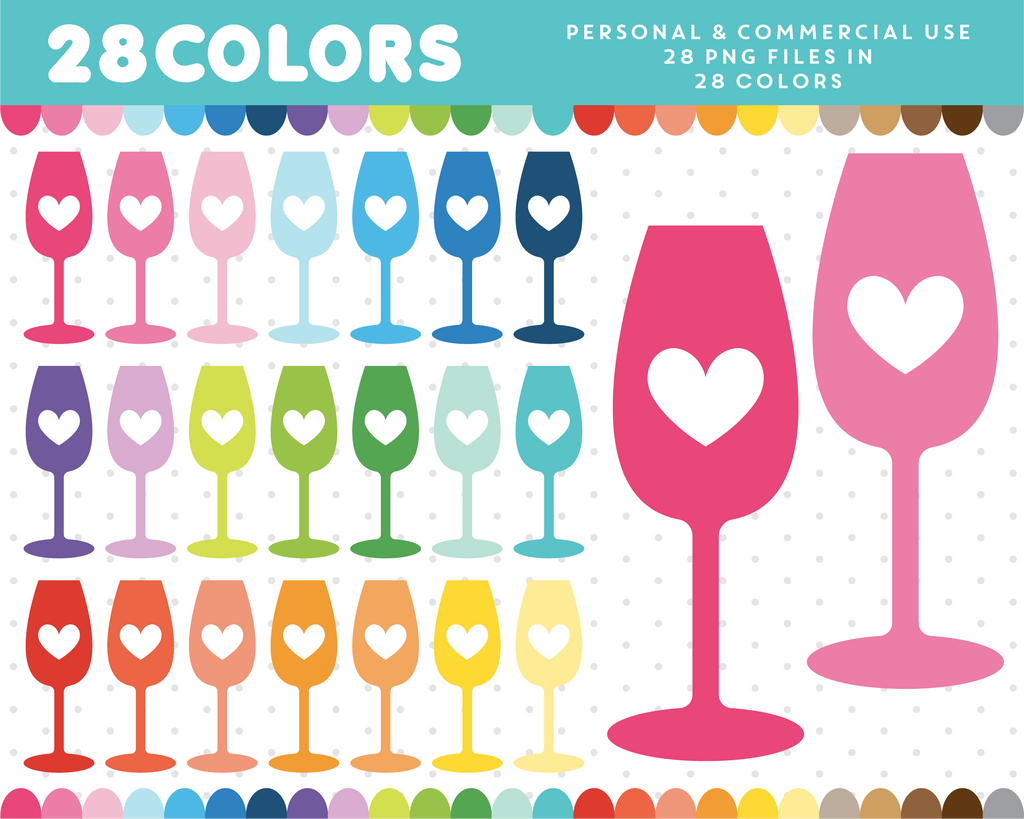 Heart glasses clipart in 28 colors, CL-1264