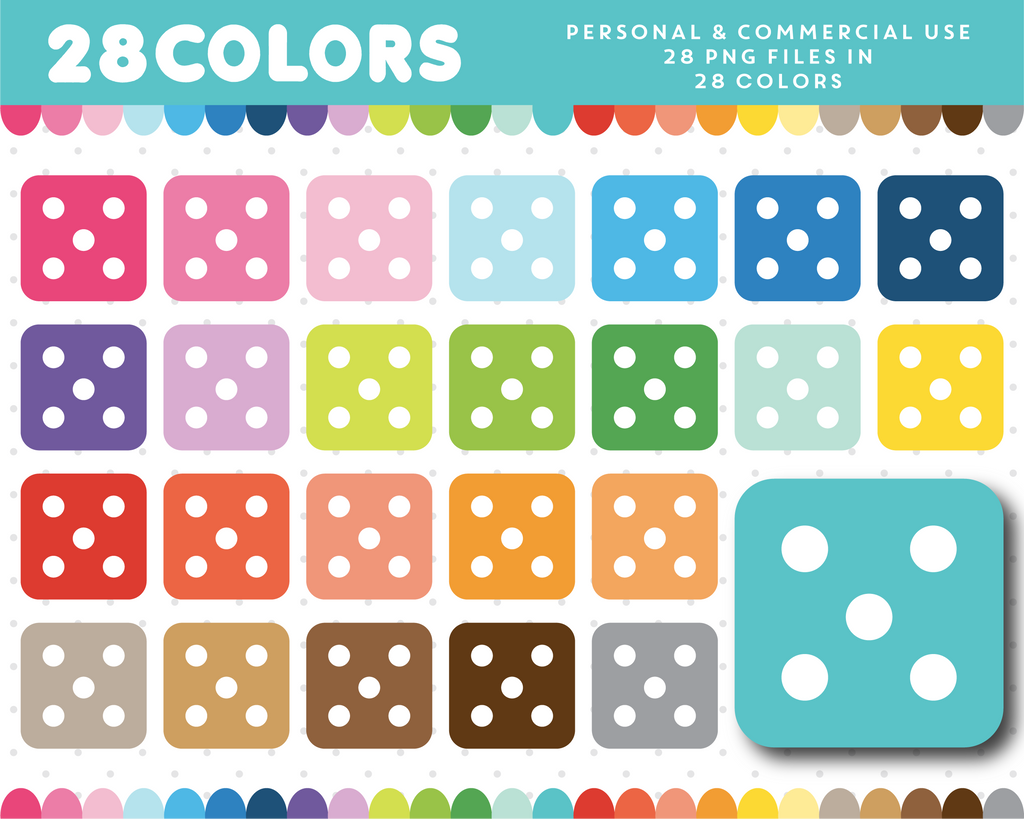 Board game clipart in 28 rainbow colors, CL-1270