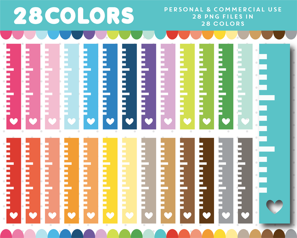 Ruler clipart in 28 rainbow colors, CL-1272