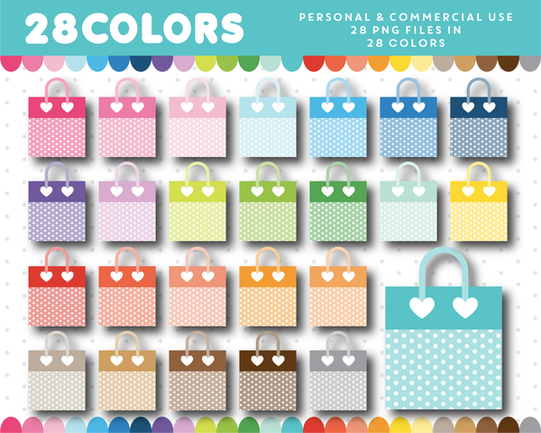 Polka dot shopping bag clipart in 28 rainbow colors, CL-1276