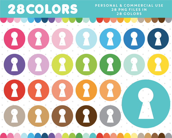 Round key hole clipart in 28 rainbow colors, CL-1281