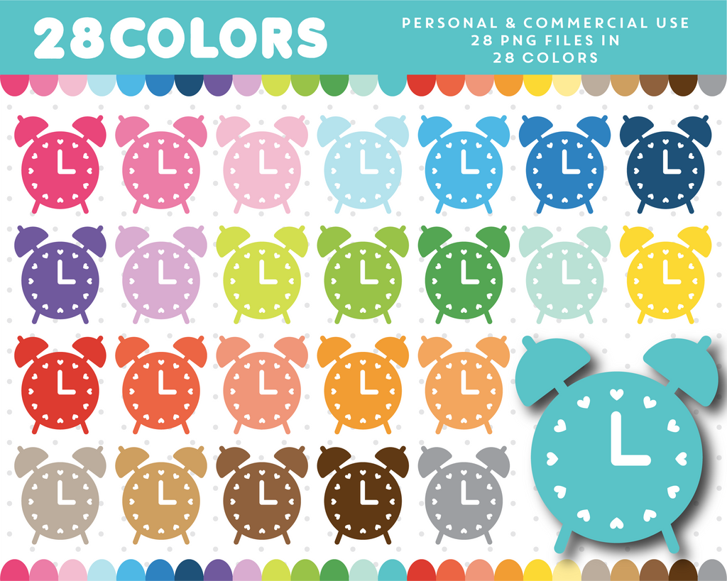 Alarm clock clipart in 28 colors, CL-1296