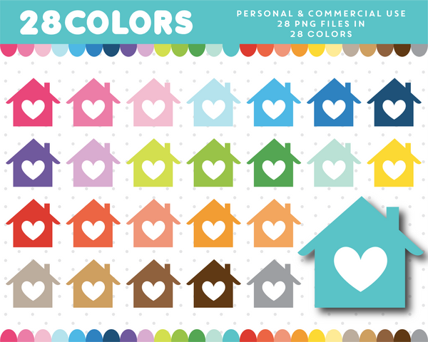 House with heart clipart in 28 colors, CL-1297