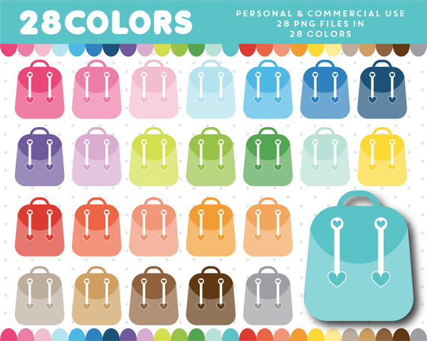 Backpack clipart in 28 colors, CL-1306