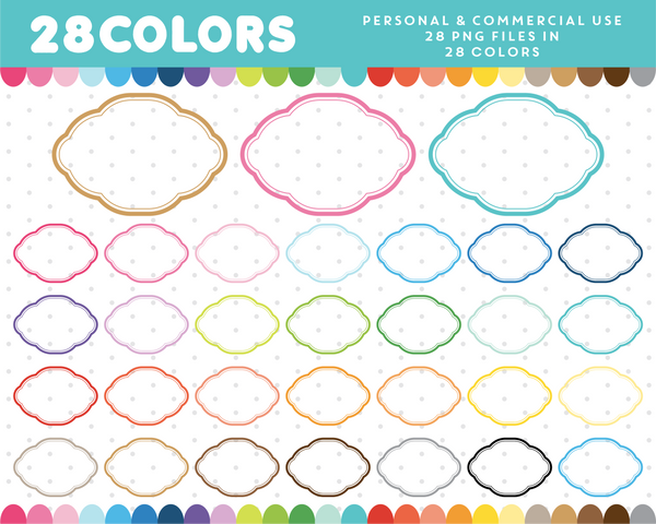 Oval scrapbooking digital frame clipart in 28 colors, CL-1309