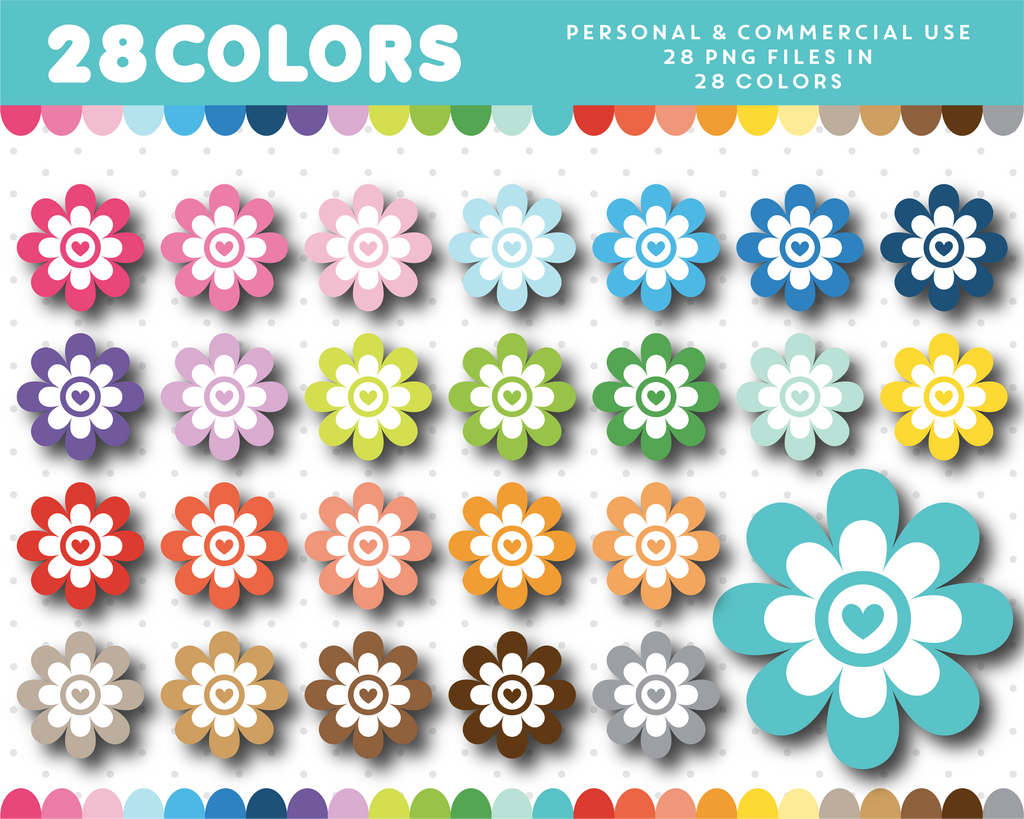 Spring flower clipart in 28 colors, CL-1321