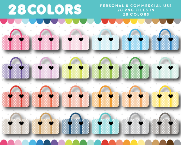 Fitness bag clipart in 28 colors, CL-1331