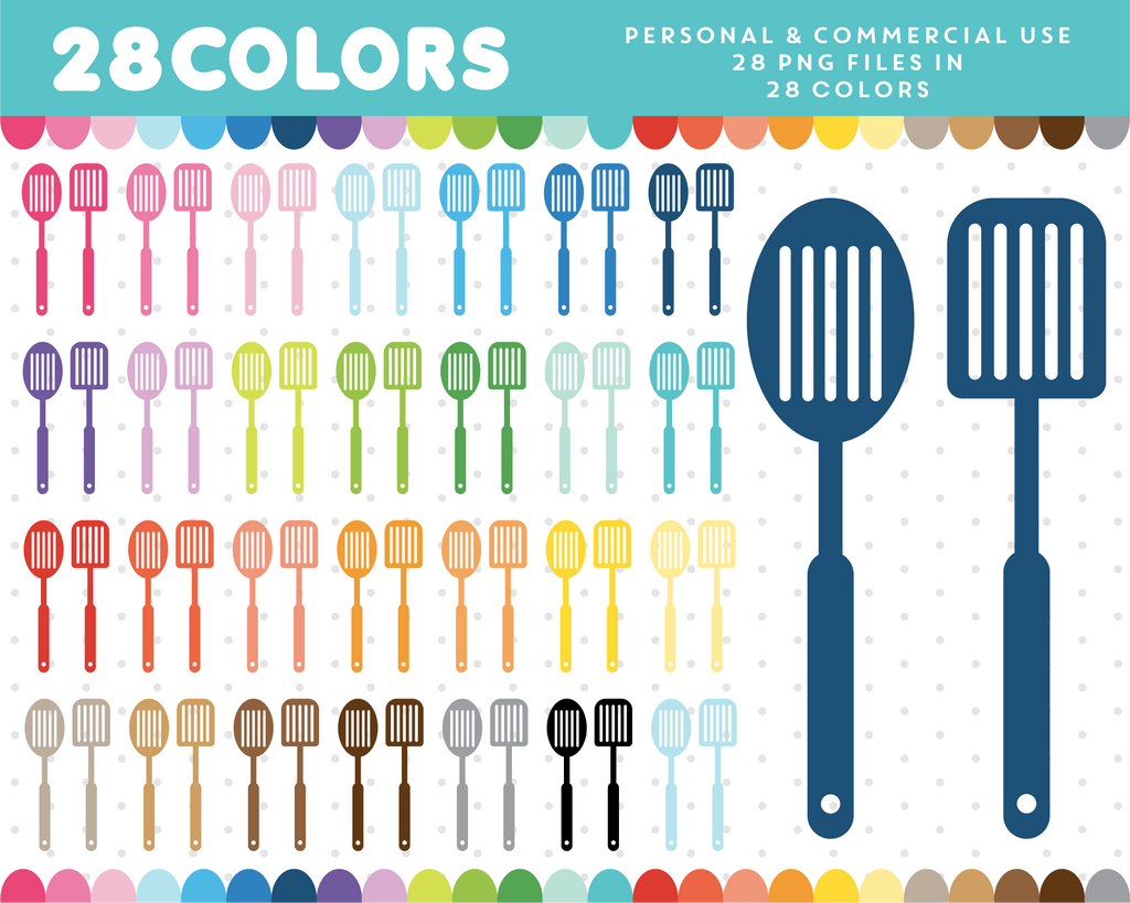 BBQ utencils clipart in 28 colors, CL-1333