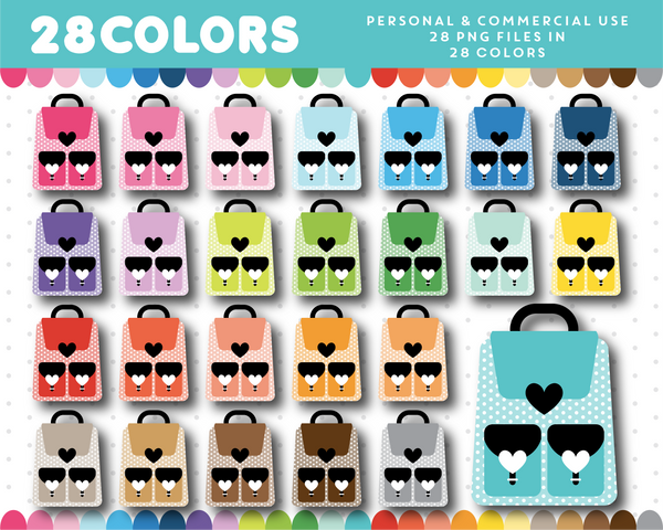Polka dot bag clipart in 28 colors, CL-1336