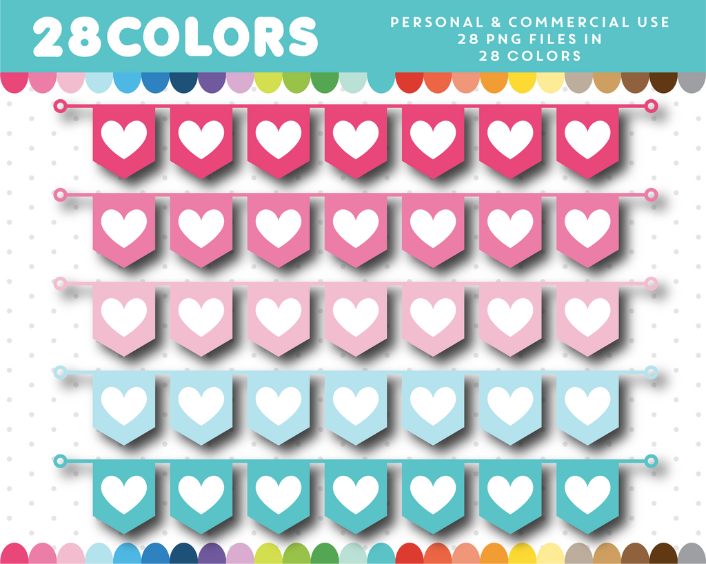 Heart flag banner clipart in 28 colors, CL-1338