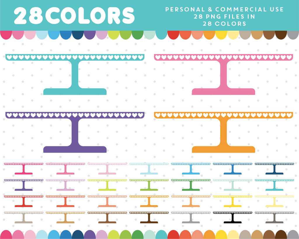 Cake stand clipart in 28 colors, CL-1342