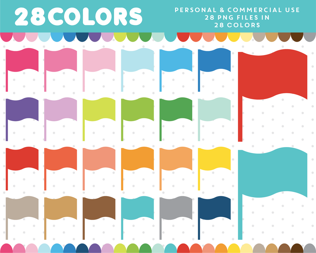 Wavy mark flags clipart in 28 colors, CL-1344