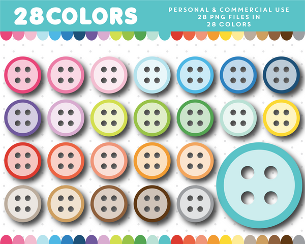 Buttons clipart in 28 colors, CL-1345