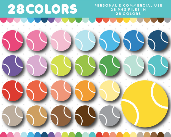 Tennisball clipart in 28 colors, CL-1347