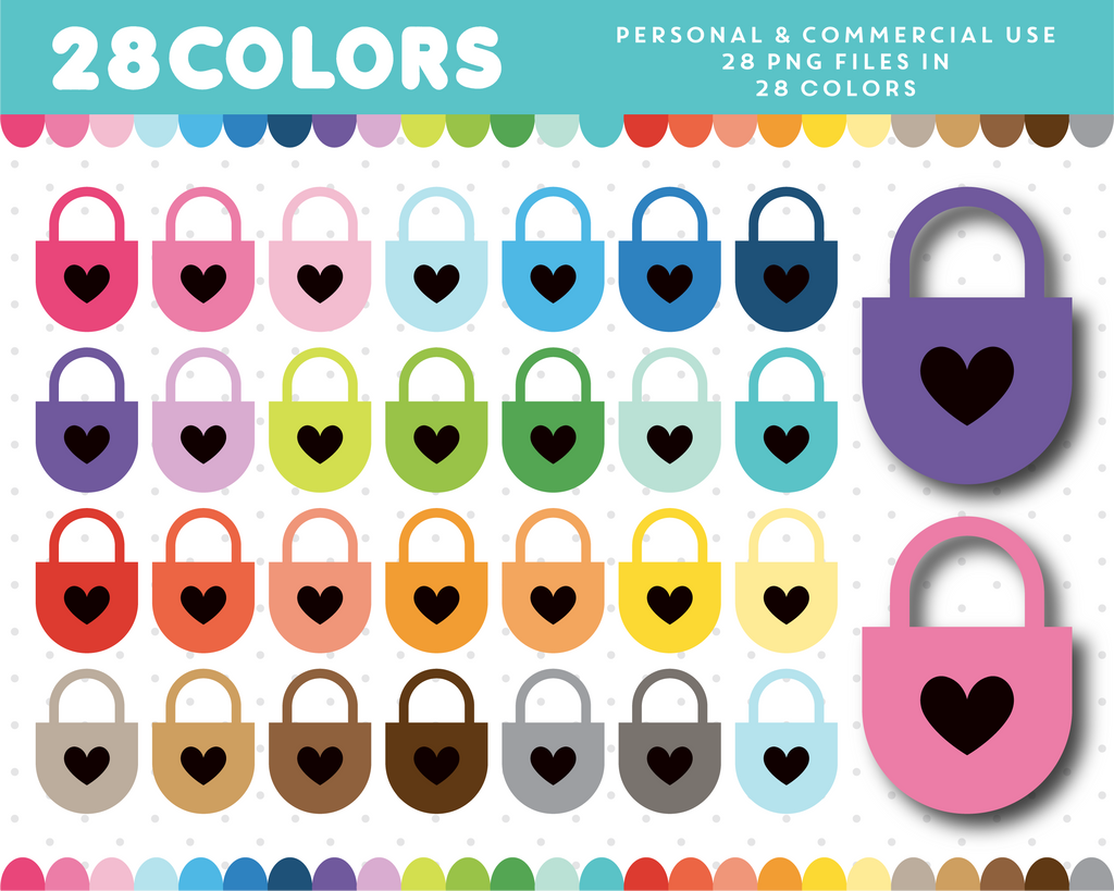 Love heart locket clipart in 28 colors, CL-1359