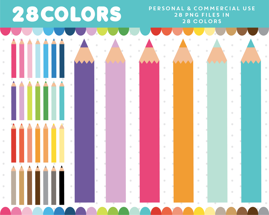 School writing supply clipart in 28 colors, CL-1366
