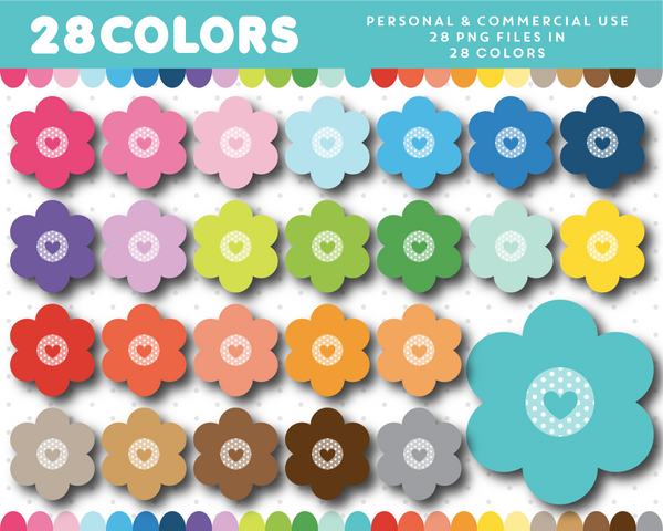 Polka dot flower clipart in 28 colors, CL-1367