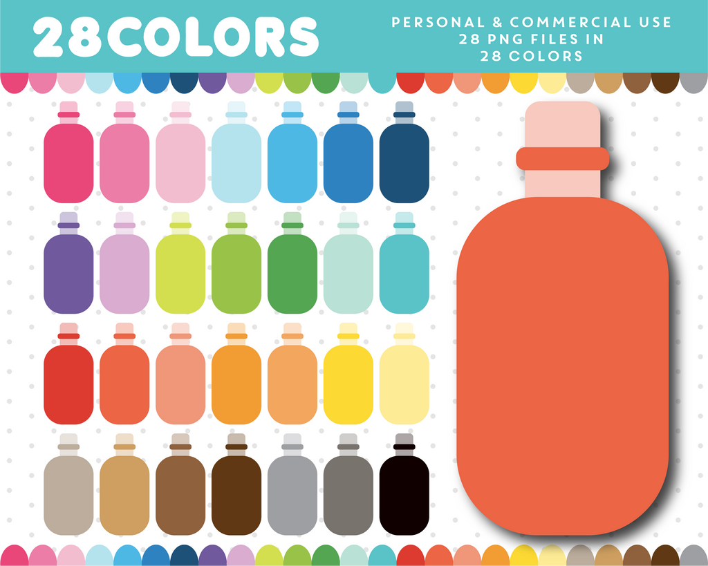 Lotion bottle clipart in 28 colors, CL-1379