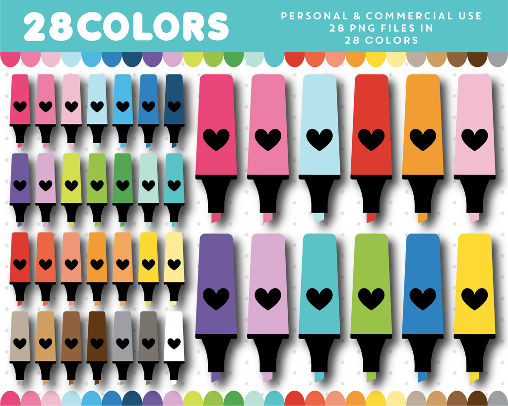 School markers clipart in 28 colors, CL-1382